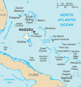 Map of The Bahamas (excluding the Turks and Caicos Islands, east of Great Inagua off the right edge of the map)